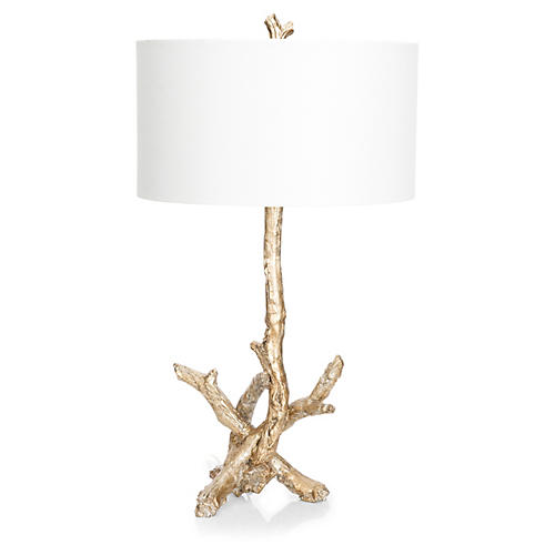 Driftwood Table Lamp, Opulent Silver