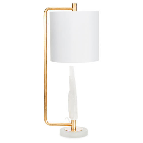 Carr Table Lamp, Frosted White/Brass