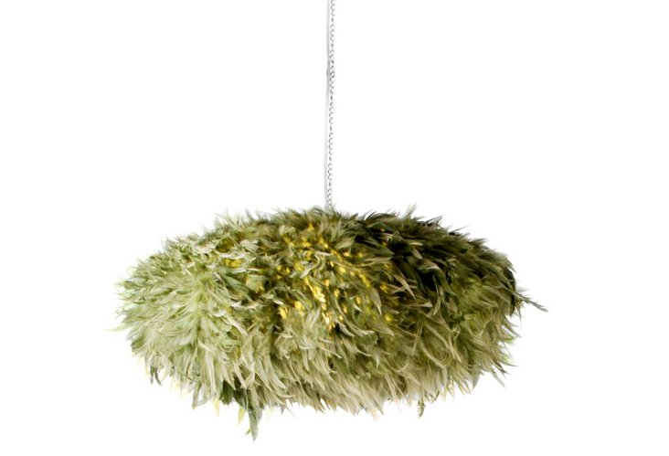 Indri Hanging Feathers Lamp, Green