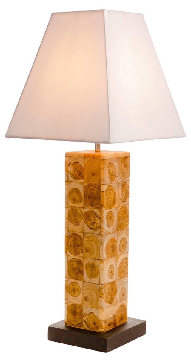 Teak Flower Table Lamp