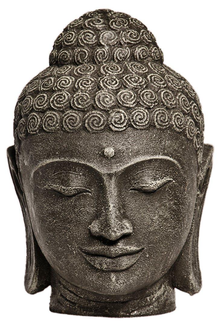 "11"" Stone Biji Buddha Head, Gray"