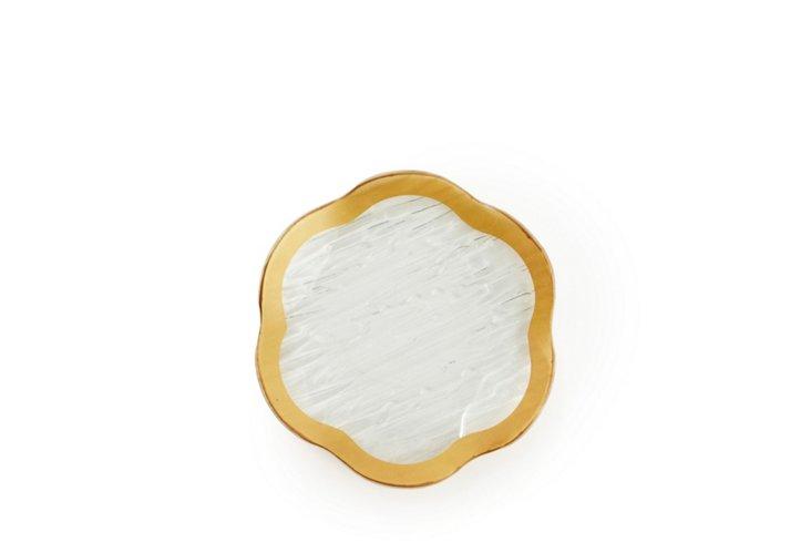 "S/8 Flower Scalloped Plates, 6"" Gold"