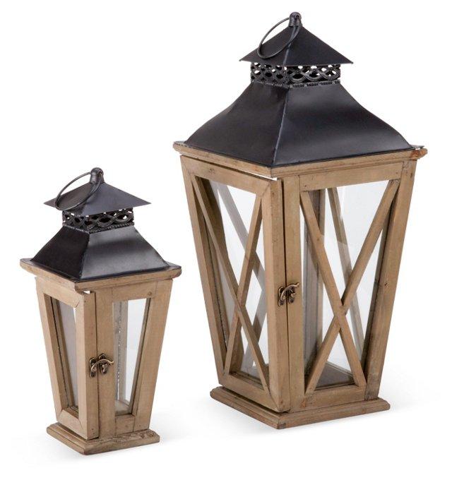 Asst. of 2 Wooden Lanterns, Black/Brown