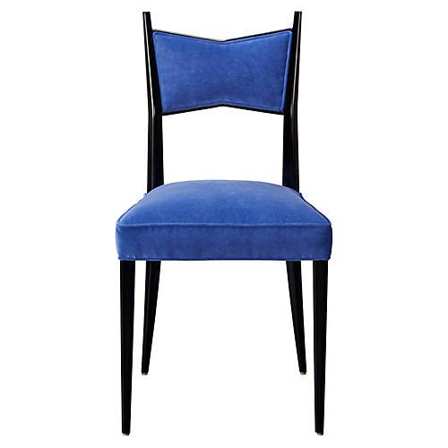 Georgia Side Chair, Cobalt Velvet