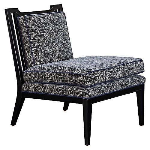 Stillwell Accent Chair, Navy/Cream