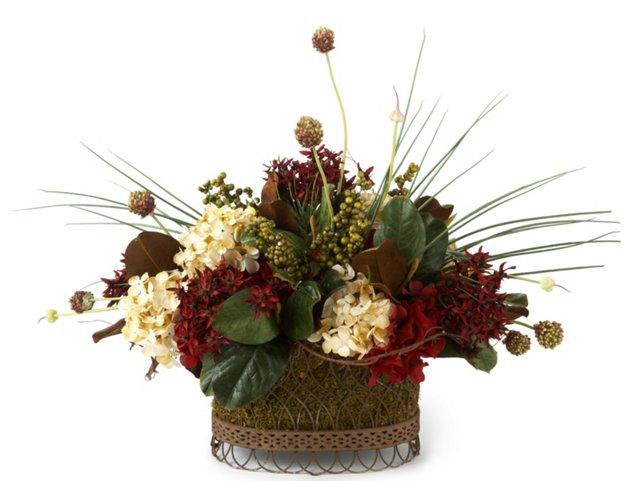 Hydrangea & Chive Basket