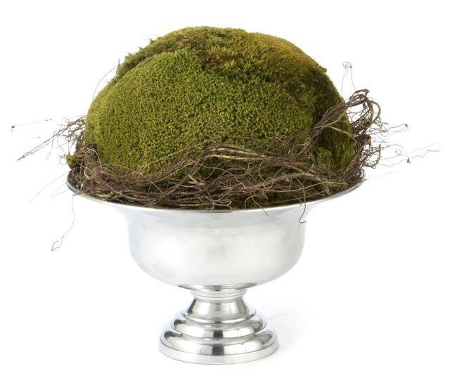 "14"" Moss Ball in Urn, Faux"