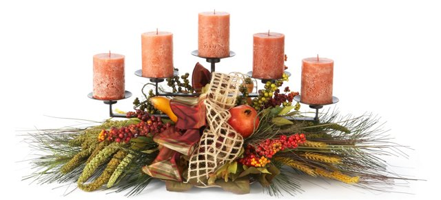 Wheat & Berry 5 Candle Centerpiece