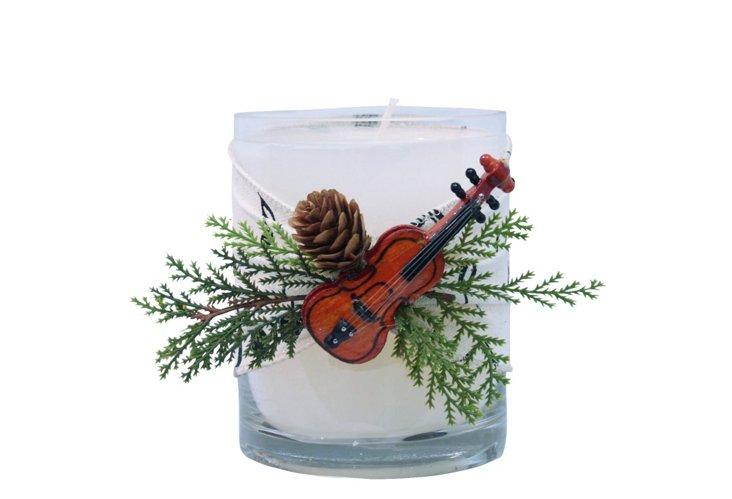 Violin on Music Ribbon Candle, Medium