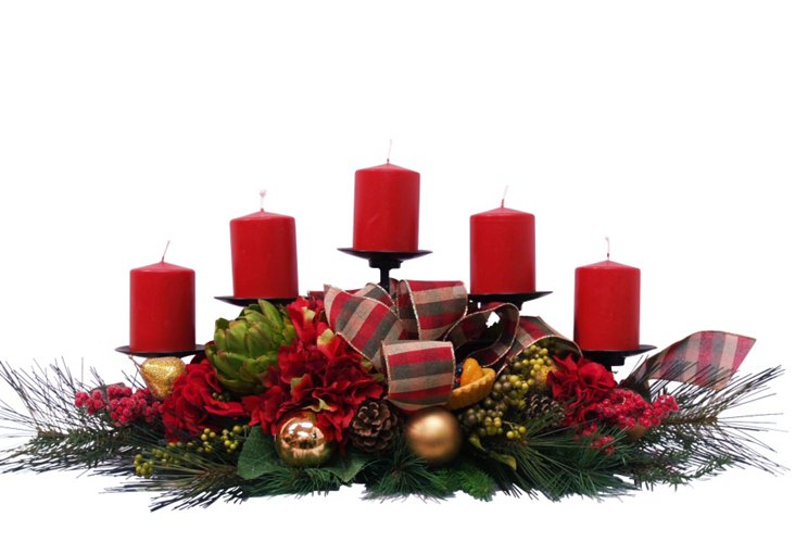 """36"""" 5-Candle Holiday Centerpiece, Faux"""