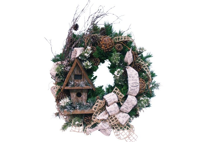 Country Birdhouse Wreath