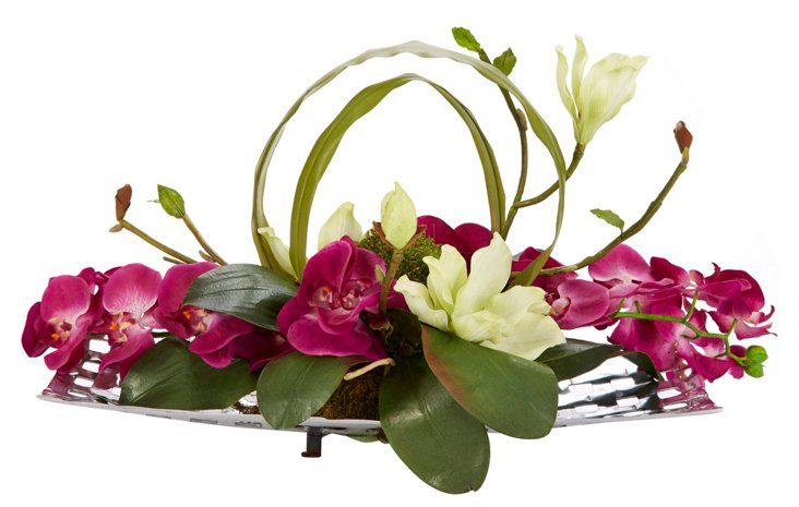 """28"""" Orchids & Magnolias on Tray, Faux"""