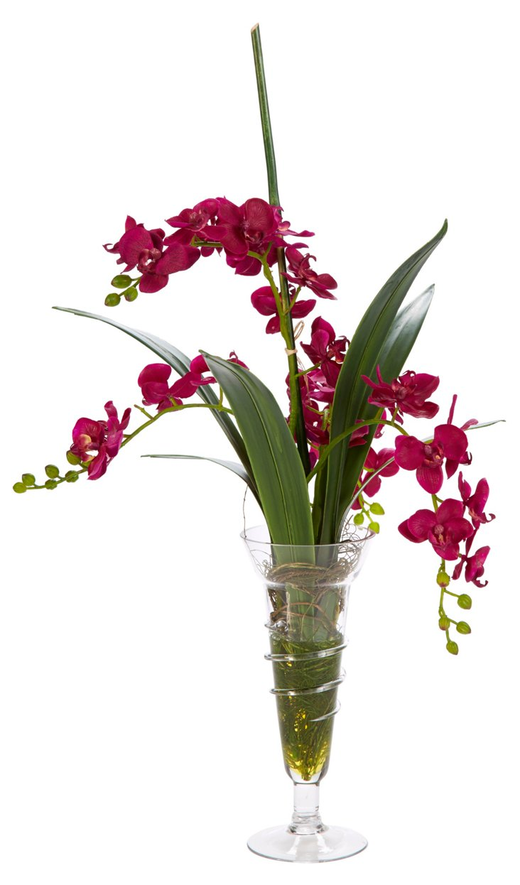 "30"" Orchids in Parfait Glass, Purple"