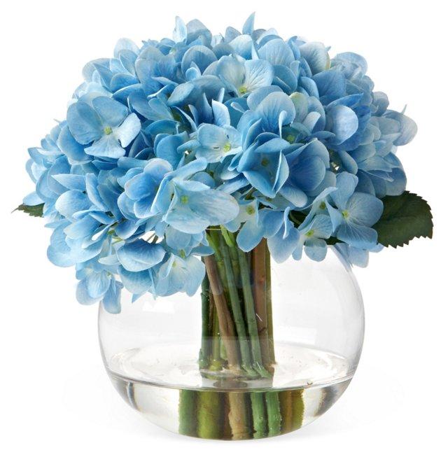 """9"""" Hydrangea in Bubble Vase, Faux"""