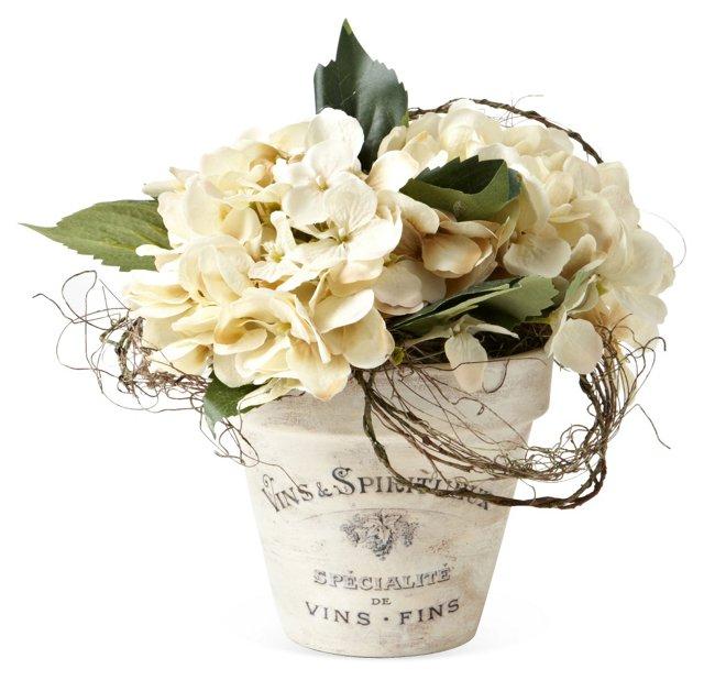 """10"""" Hydrangea & Vine in Pot, Faux"""