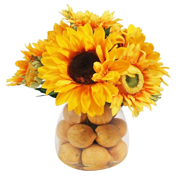 "14"" Sunflower & Lemon in Vase, Faux"