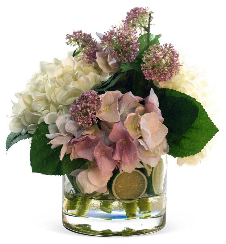 """12"""" Hydrangea & Verbena in Vase, Faux"""