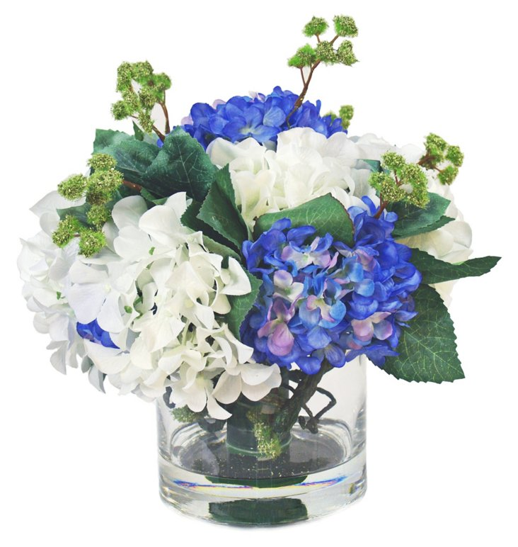 "11"" Hydrangea in Glass Pot, Faux"