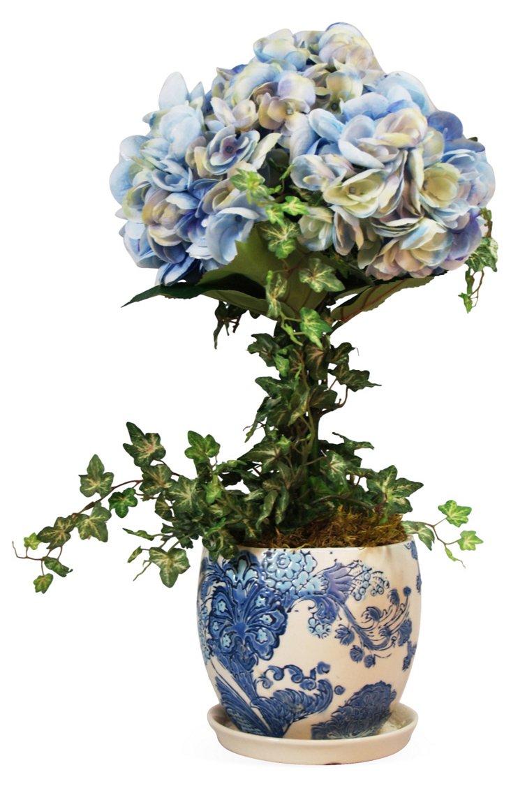 """18"""" Hydrangea & Ivy in Dutch Pot, Faux"""