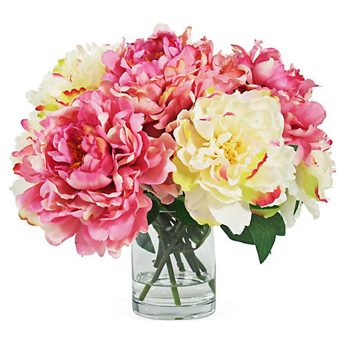 "17"" Peonies in Pot, Faux"