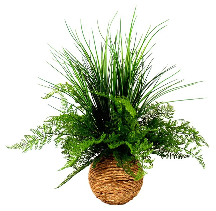 "22"" Fern in the Grass, Faux"