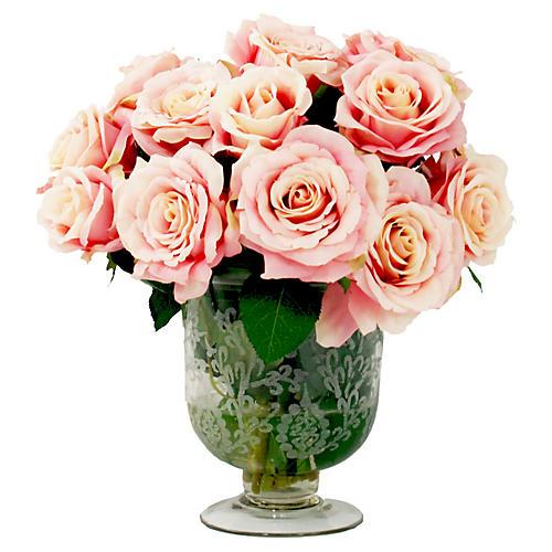 "16"" Roses in Vase, Faux"