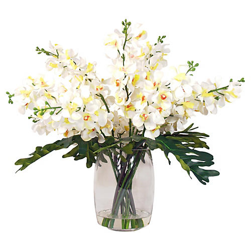 "32"" Bouquet of Orchids in Vase, Faux"