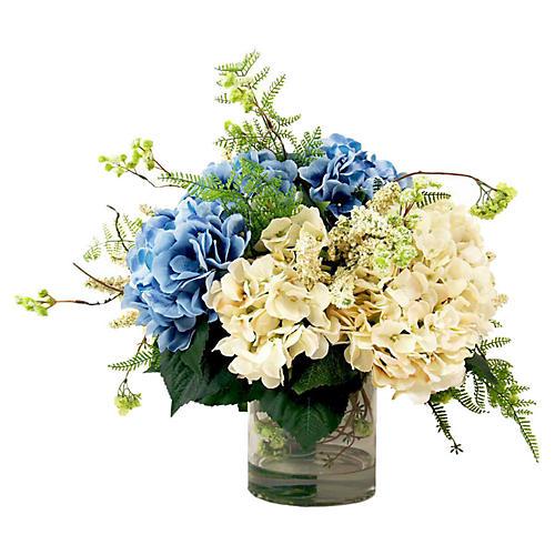 """25"""" Hydrangea & Vine in Vase, Faux"""