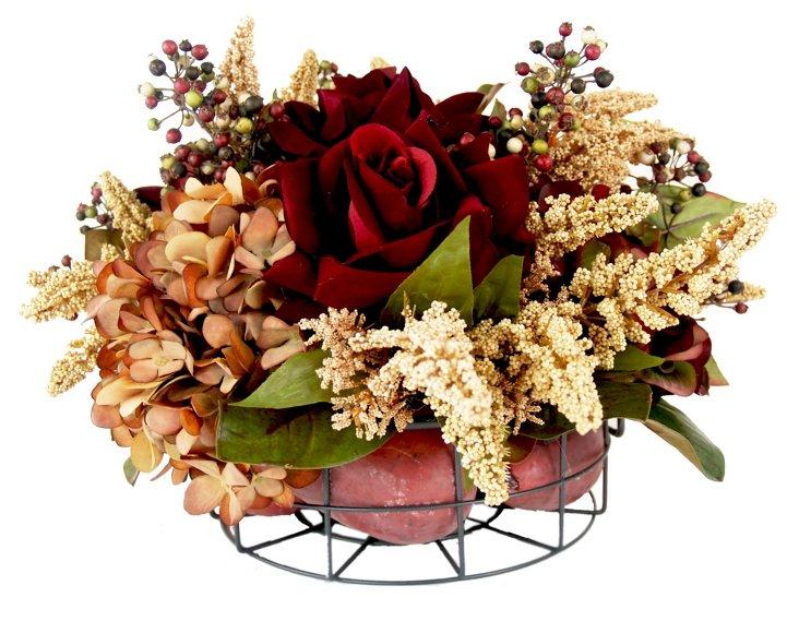 "16"" Roses & Pears in Basket, Faux"