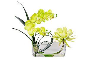 """22"""" Orchid and Lotus Arrangement, Faux"""