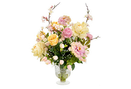 Cherry Blossom Faux Bouquet w/Vase