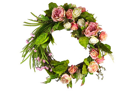 Blossoming Rose Faux Wreath