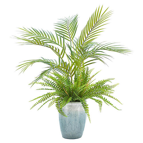 "26"" Palm Tree w/ Ferns in Planter, Faux"