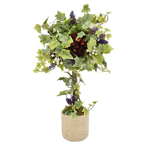 "27"" Hydrangea & Ivy Faux Topiary, Green"