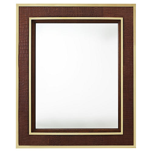 City Modern Oversize Wall Mirror, Brown/Gold