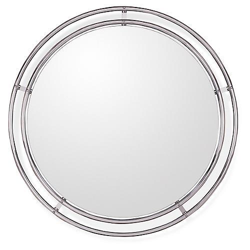 Tubular Oversize Wall Mirror, Polished Silver
