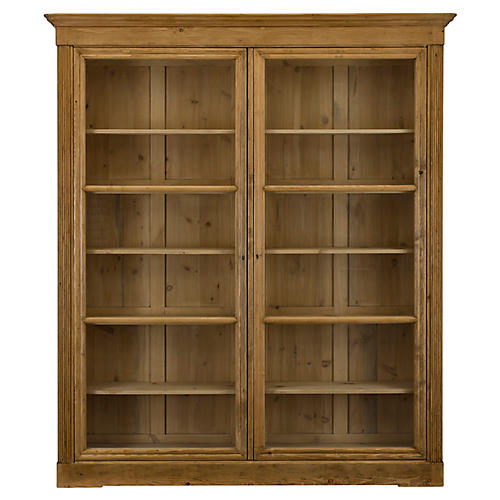 Edwardian Bookcase, Waxed Pine