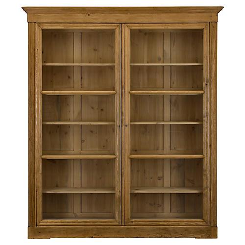 edwardian bookcase waxed pine - Elegant Bookshelves