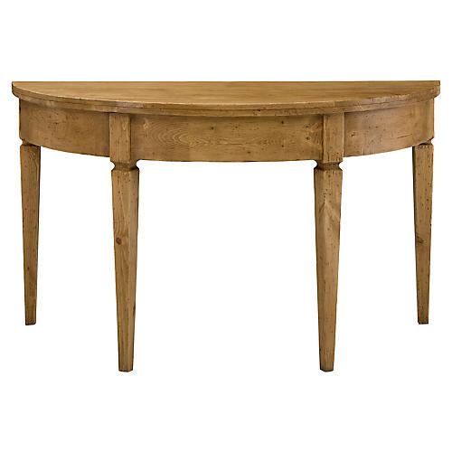 George III Demilune Console, Waxed Pine