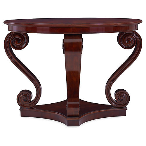 One Fifth Scroll Hall Table, Classic Mahogany