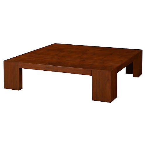 Crushed Bamboo Coffee Table, Modern Hollywood
