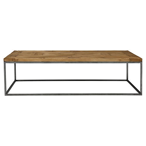 Parquet Rectangle Coffee Table, Scrubbed Walnut