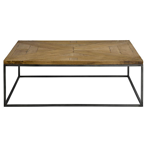 Parquet Square Coffee Table, Scrubbed Walnut