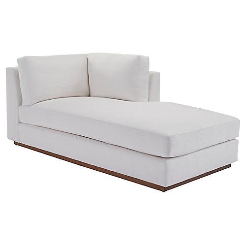 Desert Modern Right-Arm Chaise, Gesso Linen