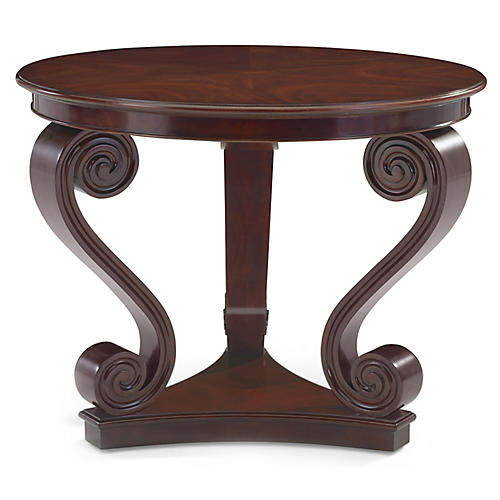 One-Fifth Scroll Side Table, Classic Mahogany