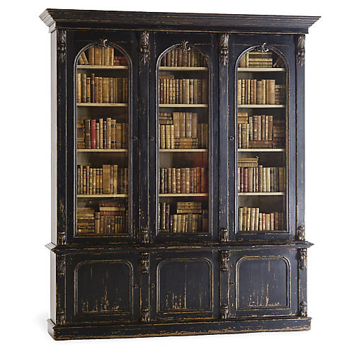 Victorian Bookcase, Old Black Paint