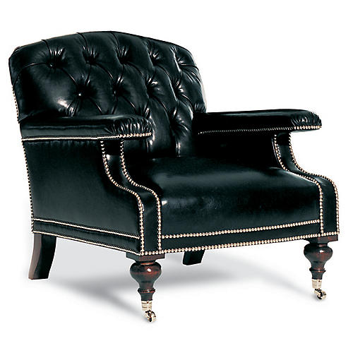 Alfred Club Chair, Black Leather