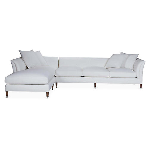 Atherton Chaise Sectional, Sunbleached White Linen