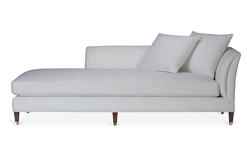 Atherton Right Arm Chaise Sunbleached White Linen Chaise Lounges