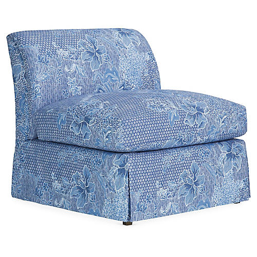 Atherton Skirted Slipper Chair, Java Sea Linen